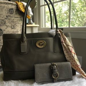 Grey coach purse with matching wallet